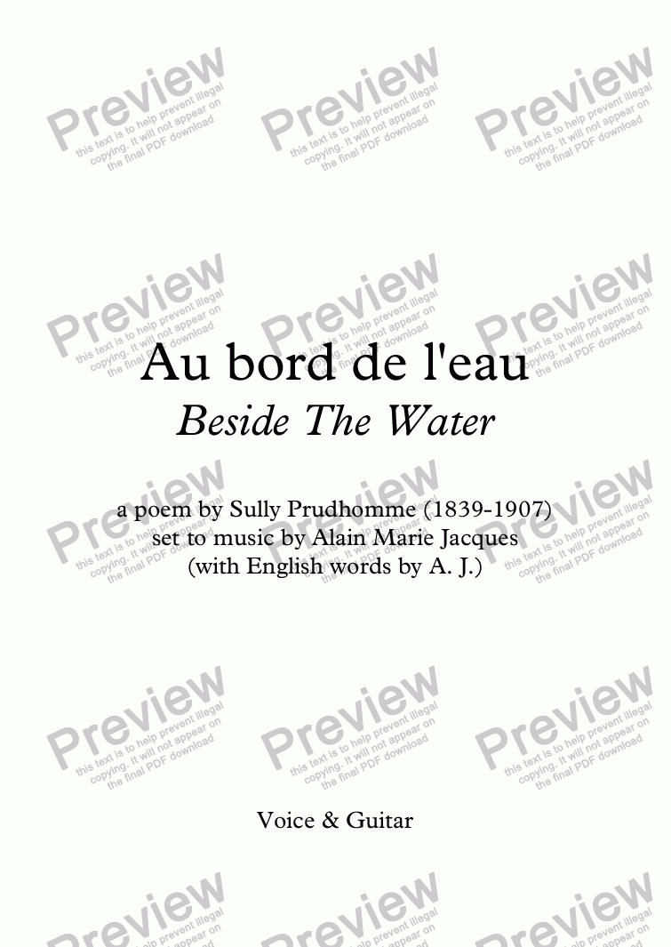 page one of Au bord de l'eau (A. Jacques / Sully Prudhomme) - bilingual