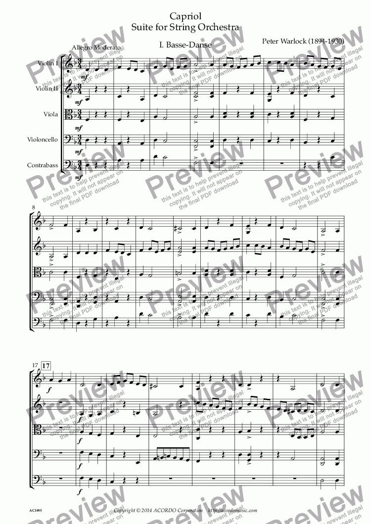 page one of Capriol Suite for String Orchestra