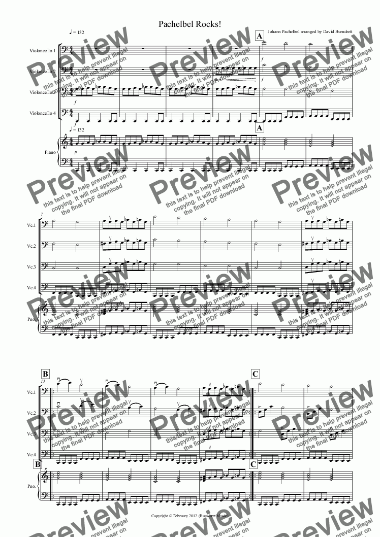 page one of Pachelbel Rocks! for Cello Quartet