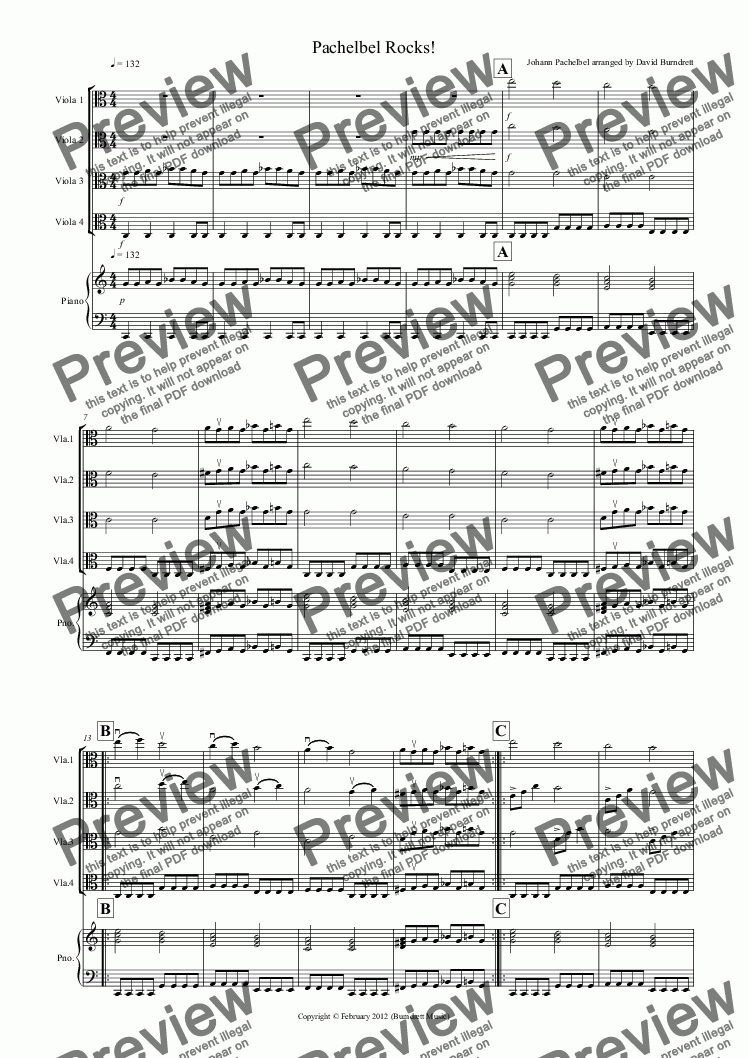page one of Pachelbel Rocks! for Viola Quartet