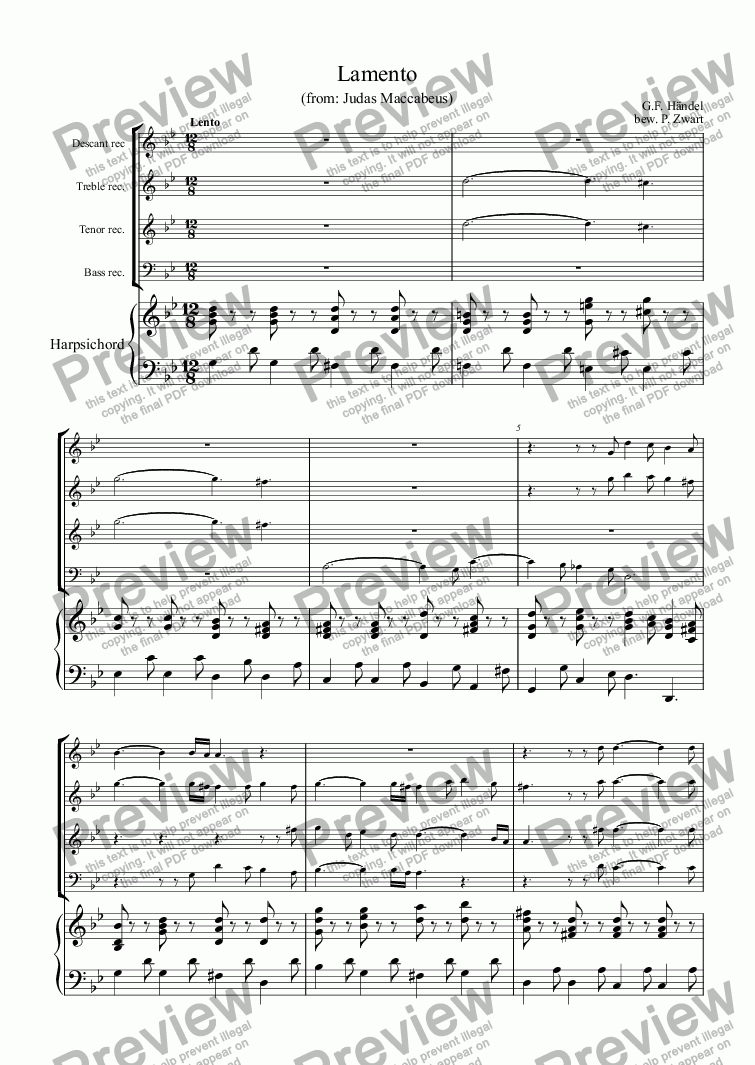 page one of Lamento (Händel)
