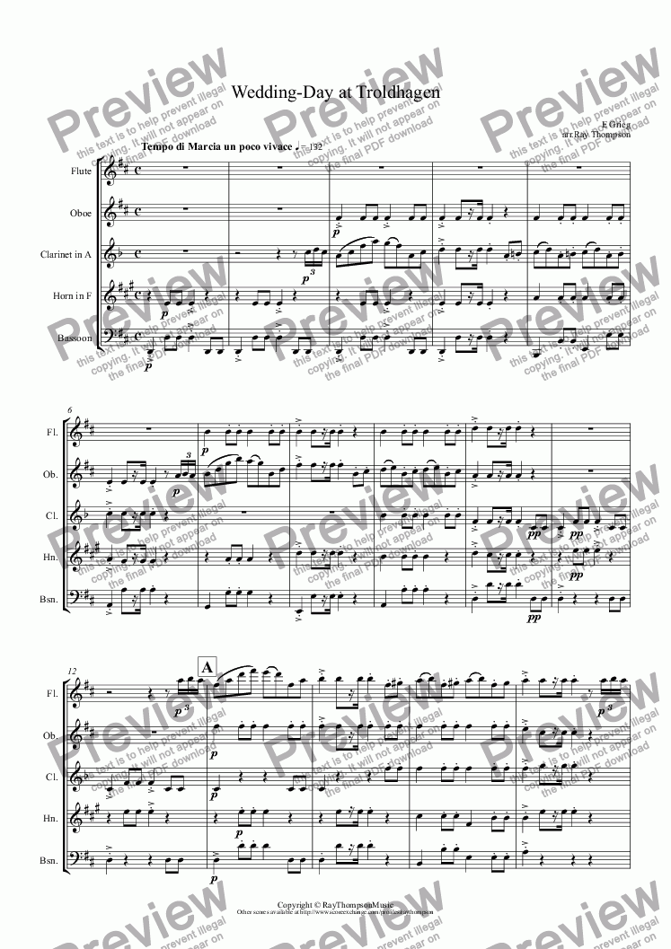 page one of Grieg: Wedding-Day at Troldhaugen (arr. wind quintet)
