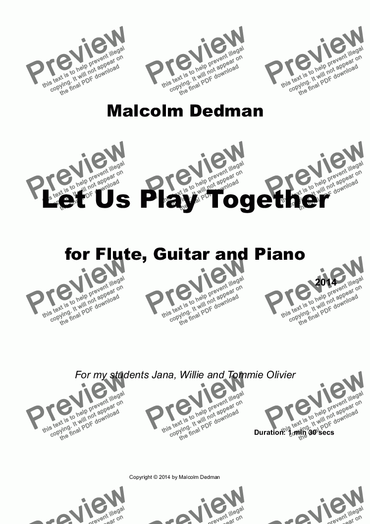 page one of Let Us Play Together