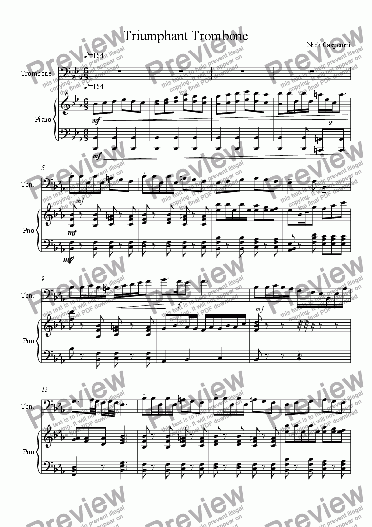 page one of Triumphant TromboneASALTTEXT