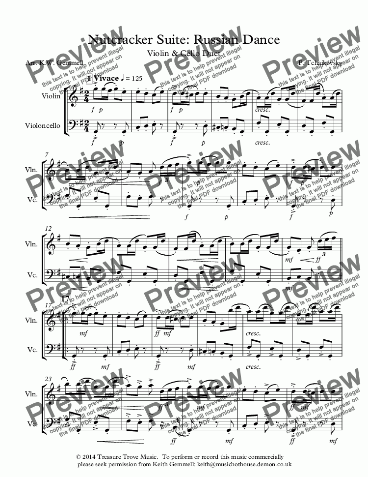 page one of Nutcracker Suite: Russian Dance - Violin and Cello Duet