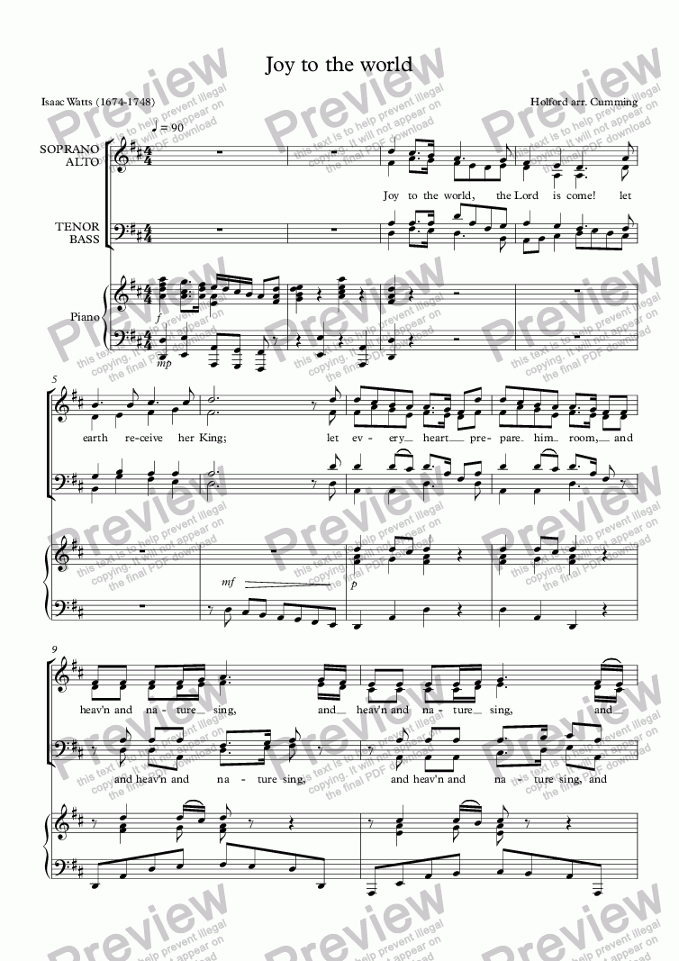 "page one of ""Joy to the world"" for SATB choir & piano"