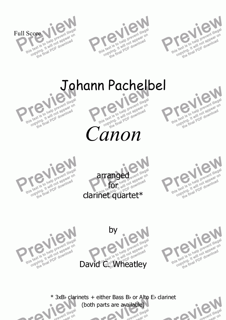page one of Pachelbel - Canon for clarinet quartet
