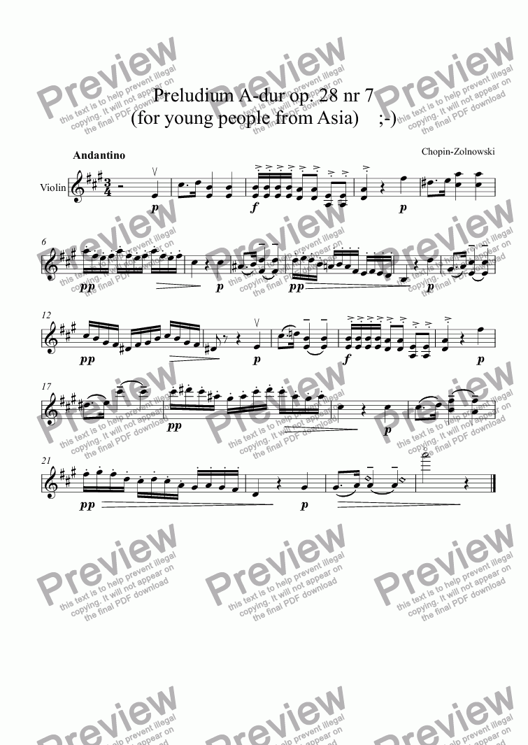 page one of Preludium A-dur op. 28 nr 7  (for young people from Asia)    ;-)