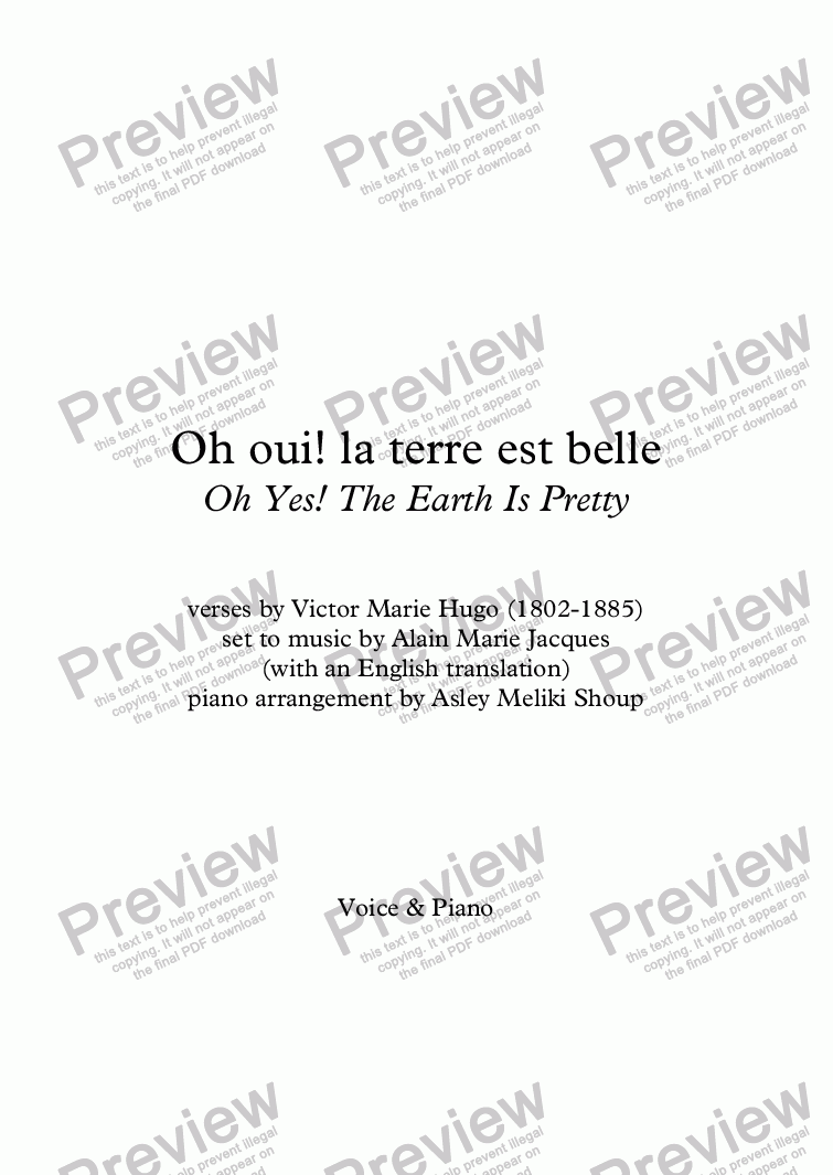 page one of Oh Oui! La Terre Est Belle (A. Jacques / Victor Hugo) - bilingual