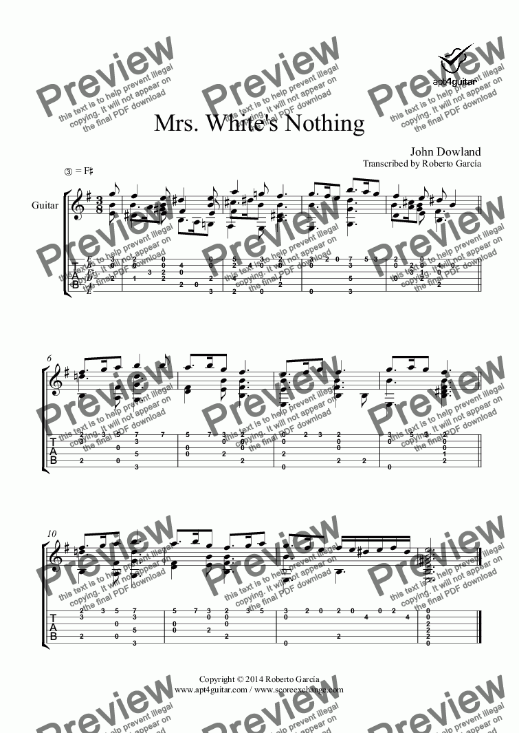 page one of Mrs. White's Nothing for solo guitar