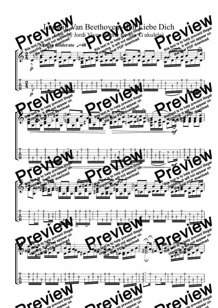 page one of Ludwig van Beethoven - Ich Liebe Dich (arr. for low G ukulele) Op. 35h