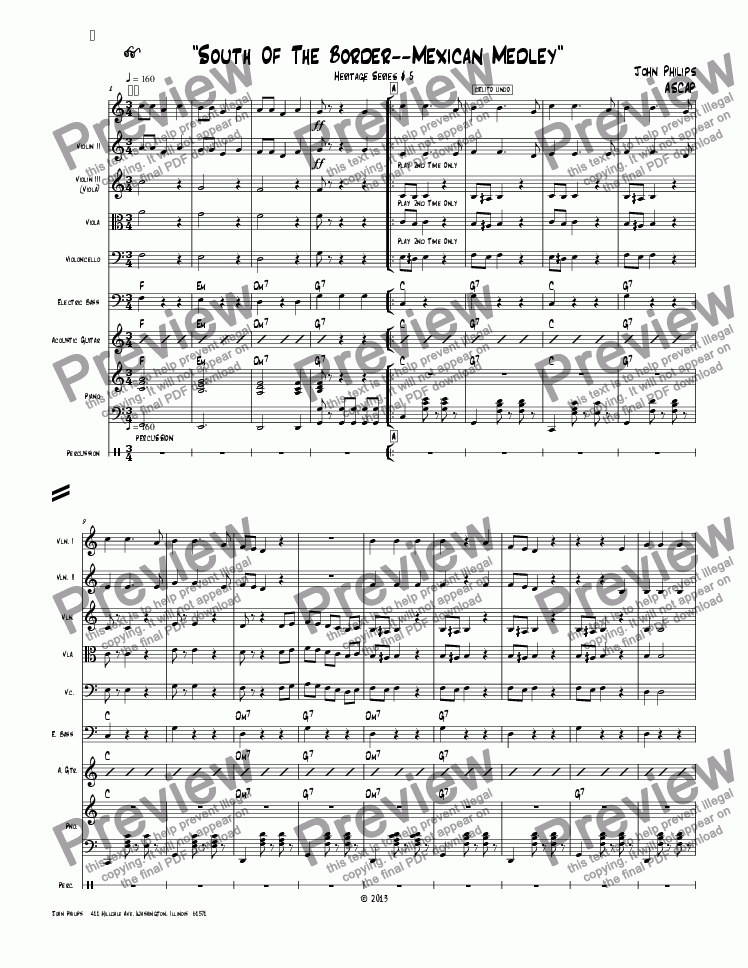 "page one of ""South Of The Border Mexican Medley"""