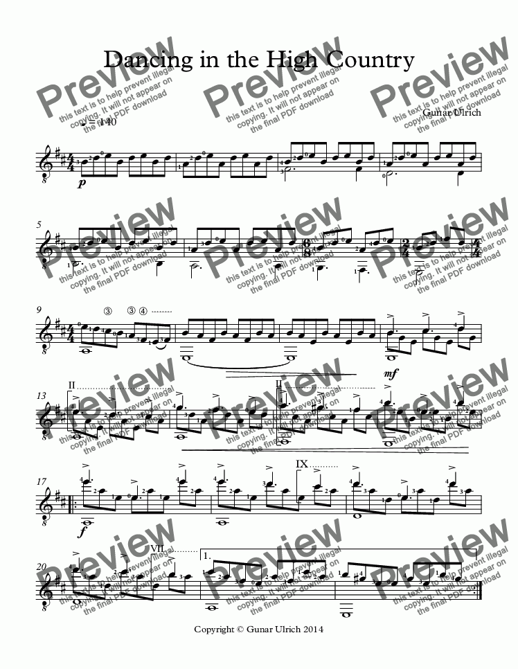 page one of Dancing in the High Country-for solo guitarASALTTEXT