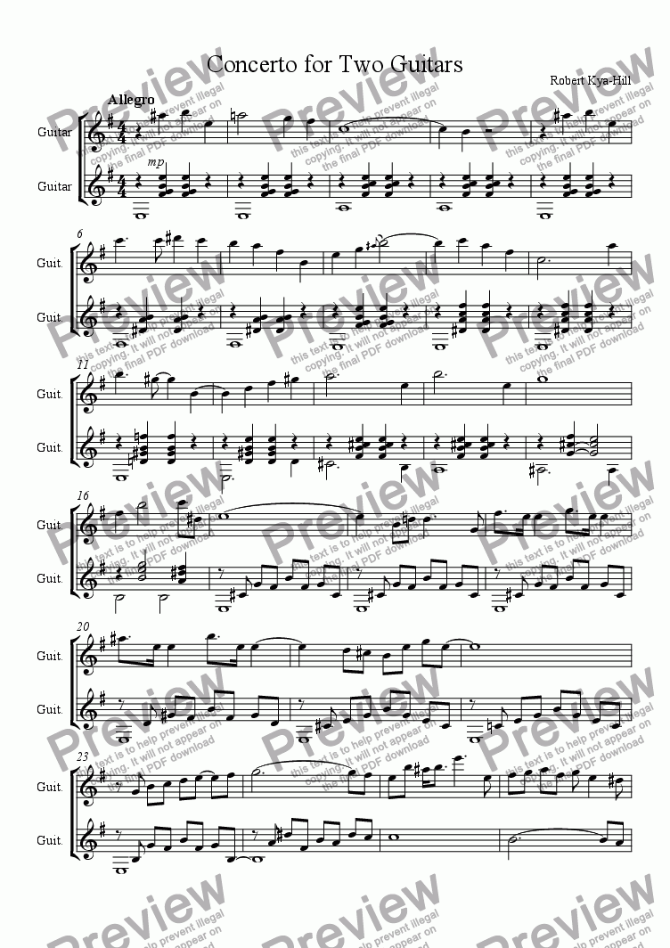 page one of Duet for Two Guitars