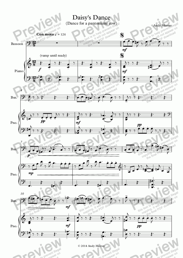 page one of Daisy's Dance (bassoon)