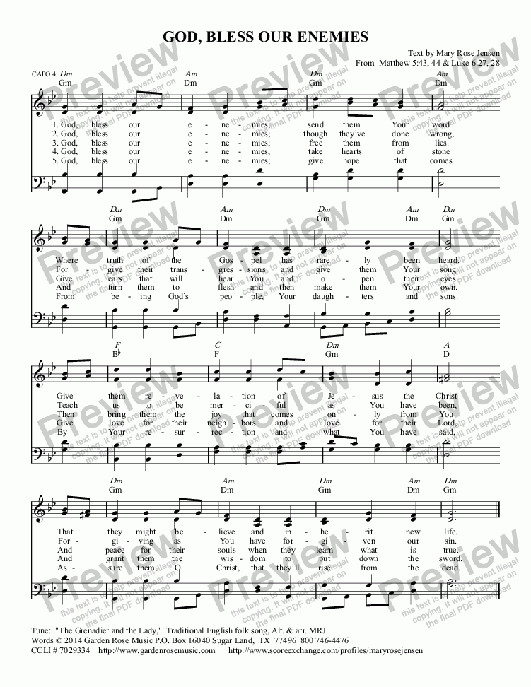 page one of God, Bless Our Enemies - Hymn of Prayer (THE GRENADIER AND THE LADY) SATB