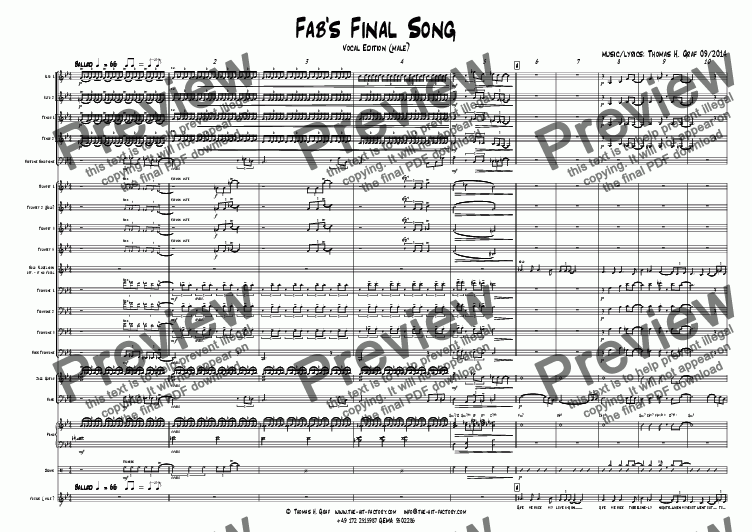 page one of Fab's Final Song - Big Band - Vocal Edition