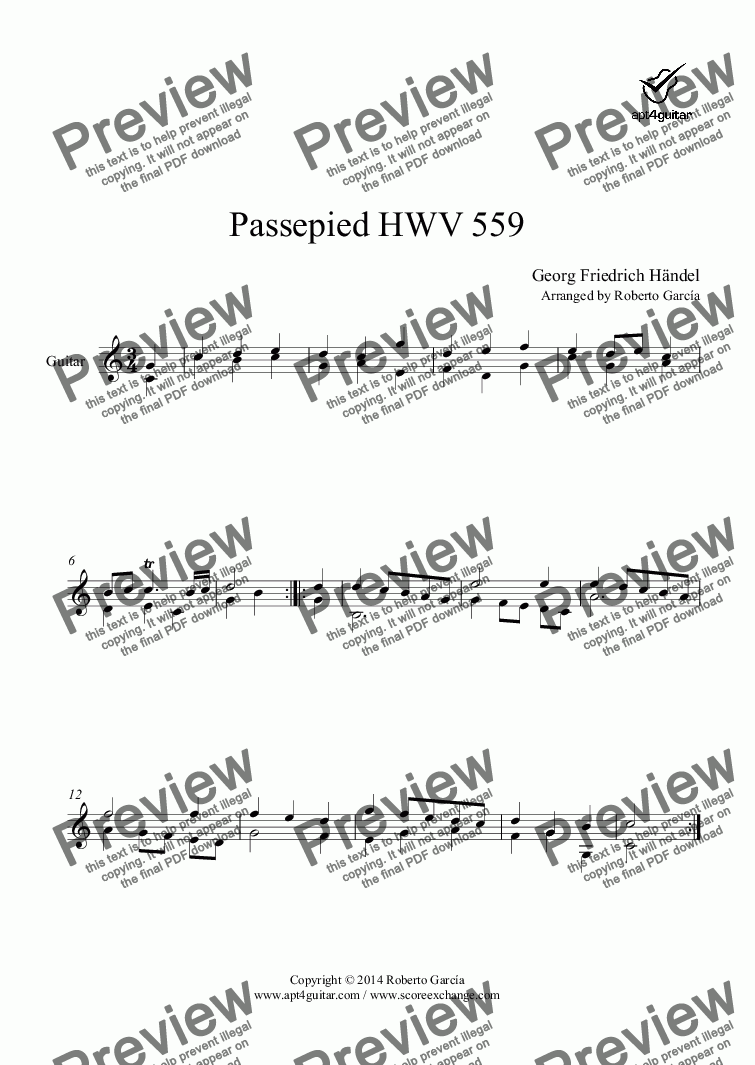 page one of Passepied HWV 559 for solo guitar