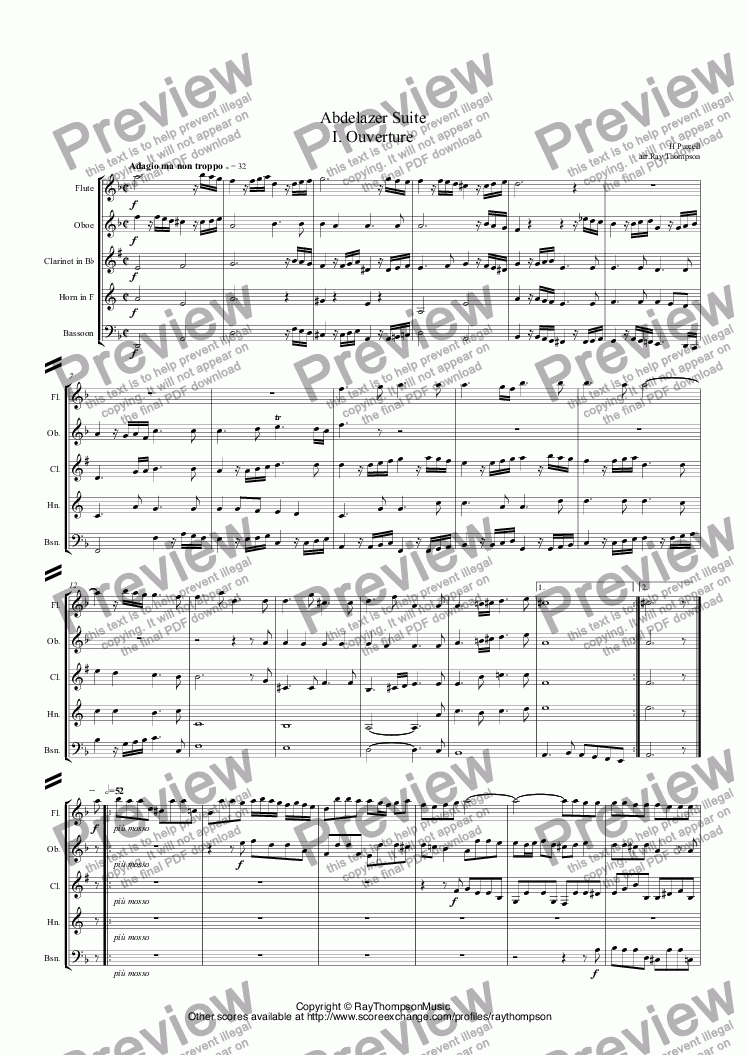 page one of Purcell: Suite from Abdelazer (Complete): 1. Ouverture 2. Rondeau 3. Air 4. Air 5. Minuet 6. Air 7. Jig 8. Hornpipe 9.Air (arr.wind quintet) ASALTTEXT