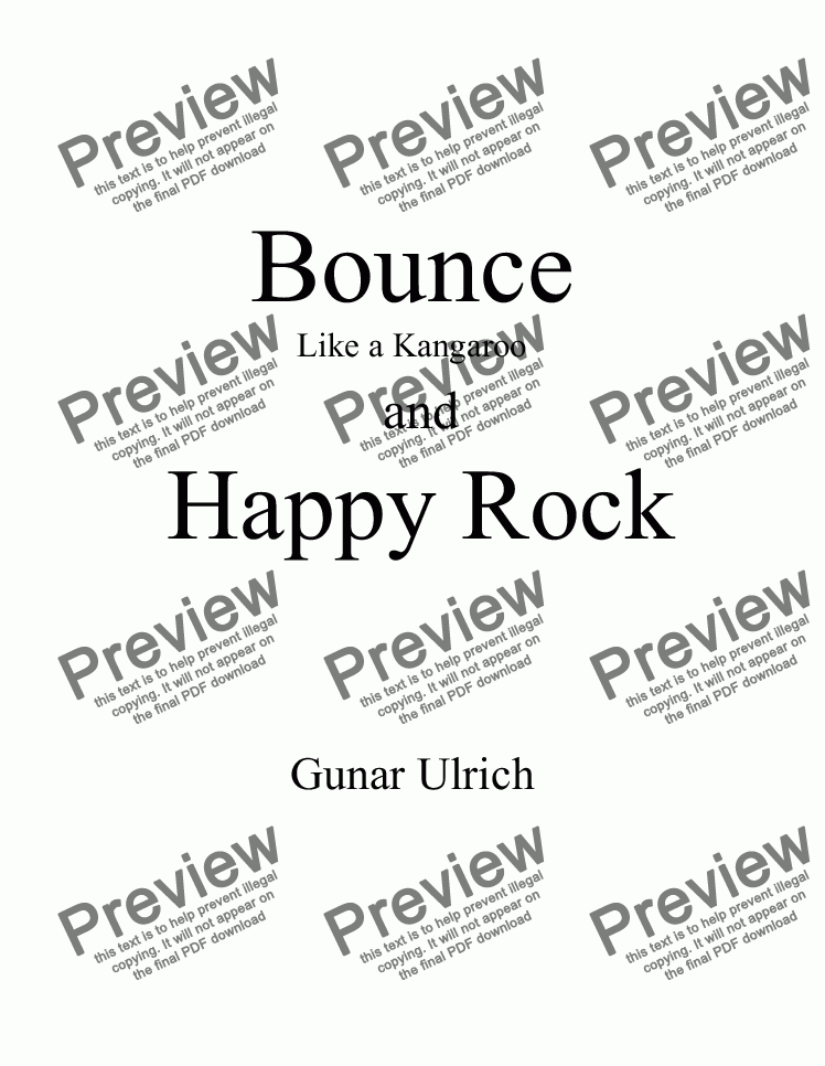 "page one of ""Bounce"" and ""Happy Rock"" for solo guitar"