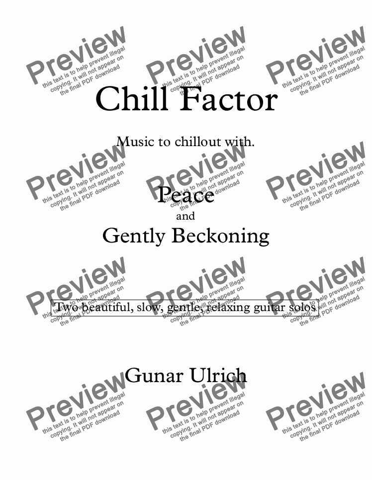 page one of Chill Factor for solo guitar