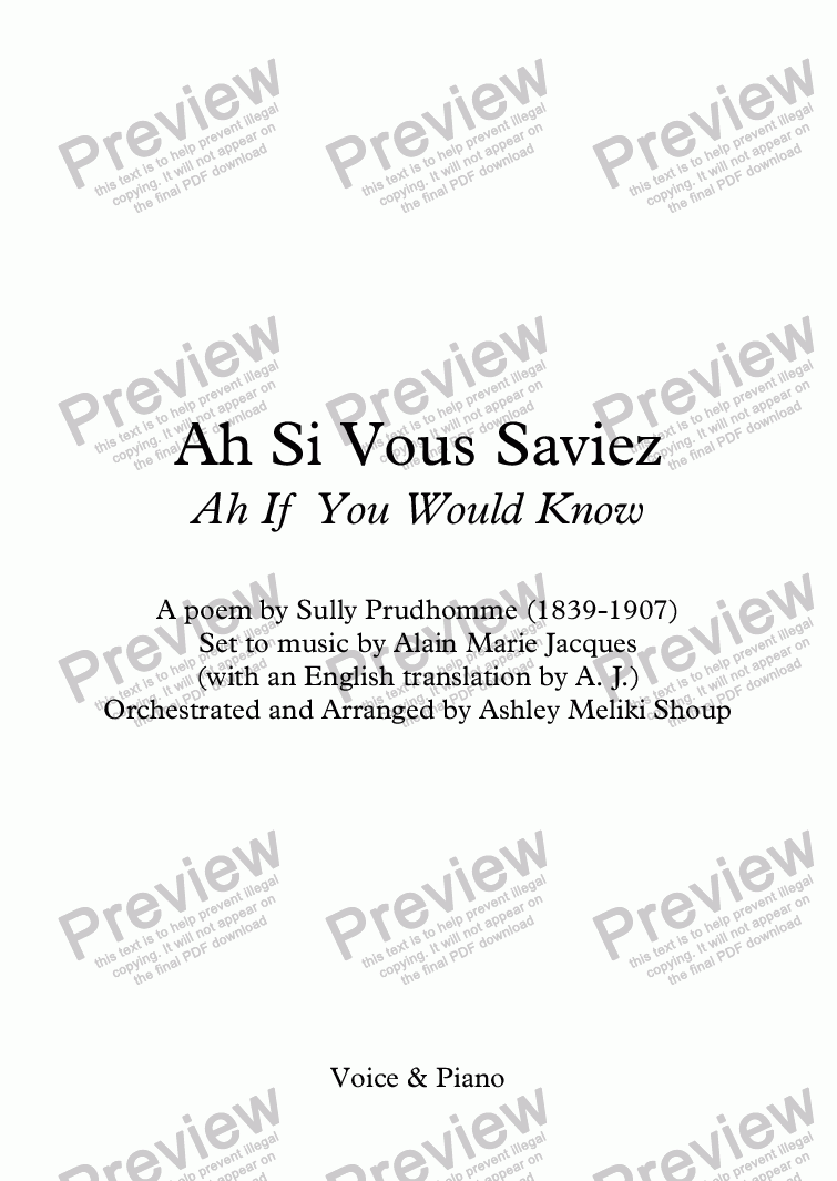 page one of Ah si vous saviez... (A. Jacques / Sully Prudhomme) - bilingual