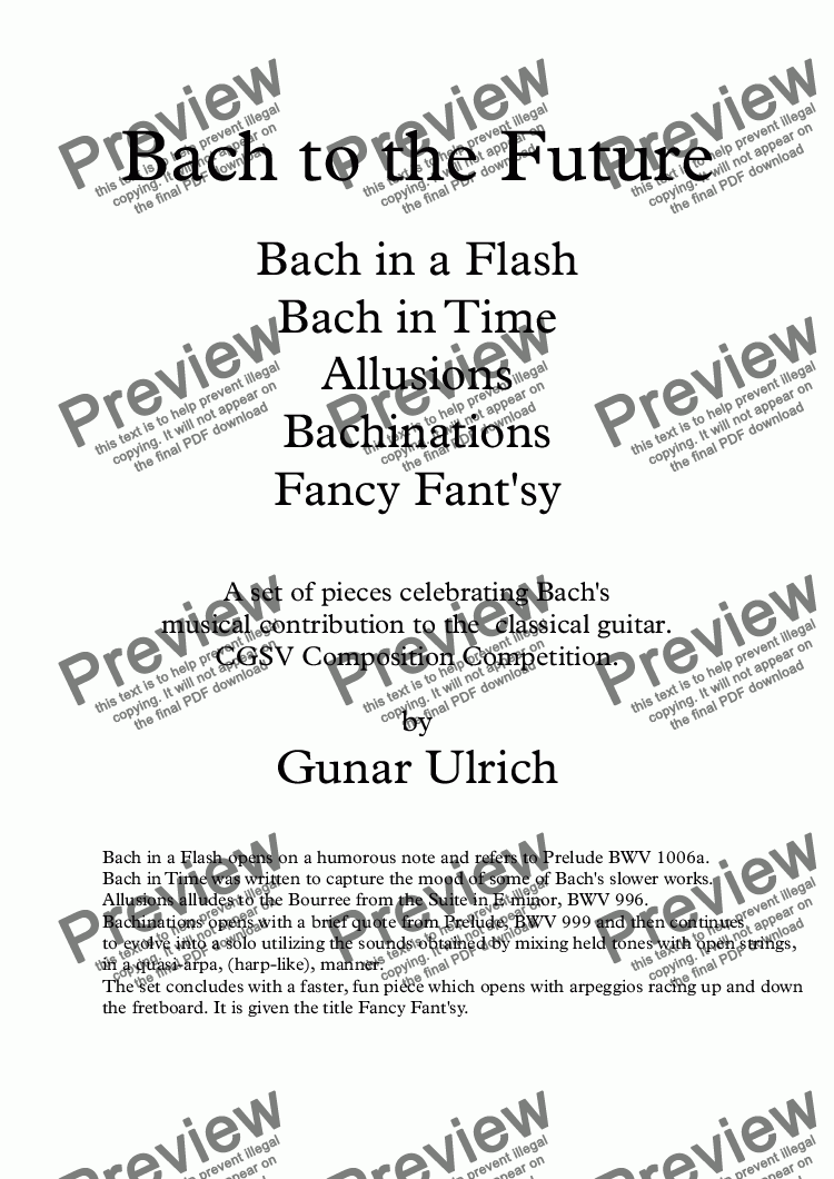 page one of Bach to the Future for solo guitar