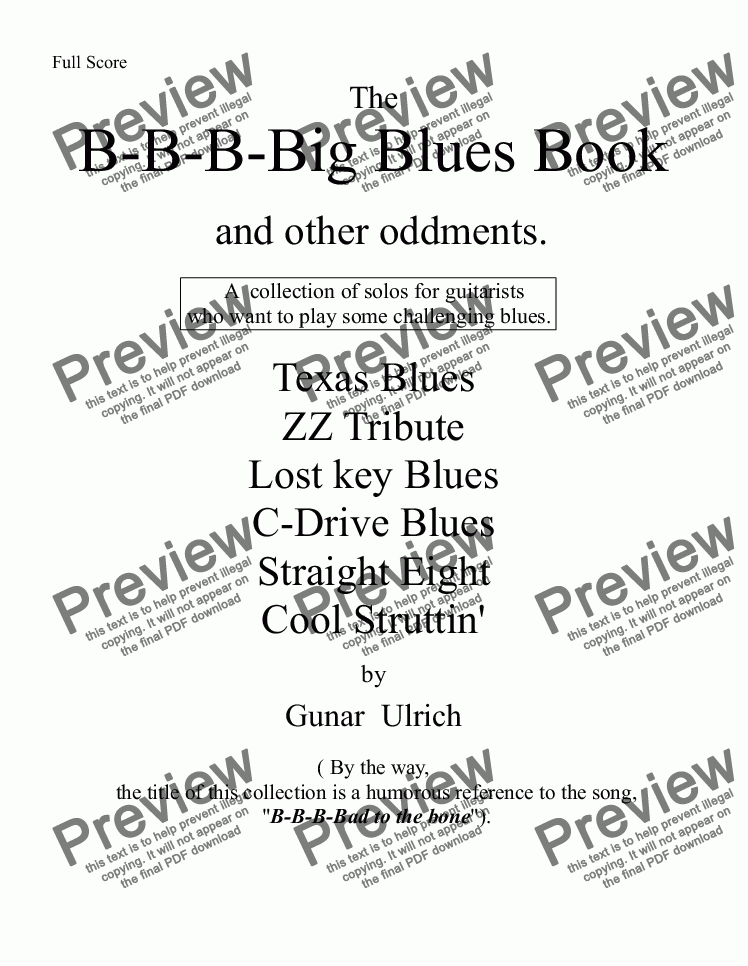 page one of B-B-B-Big Blues Book and other oddments for solo guitar.