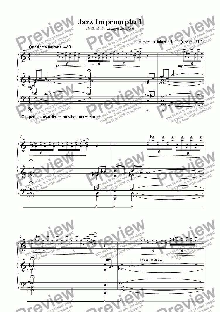 page one of Jazz Impromptu 1 for piano