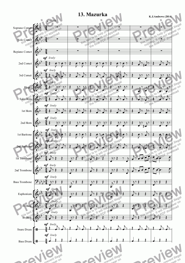 page one of Suite for Brass Band: 13.MazurkaASALTTEXT