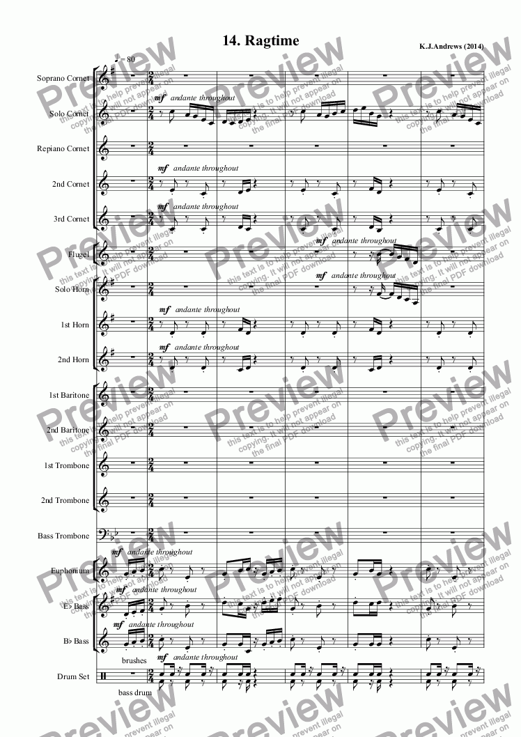 page one of Suite for Brass Band: 14.Ragtime