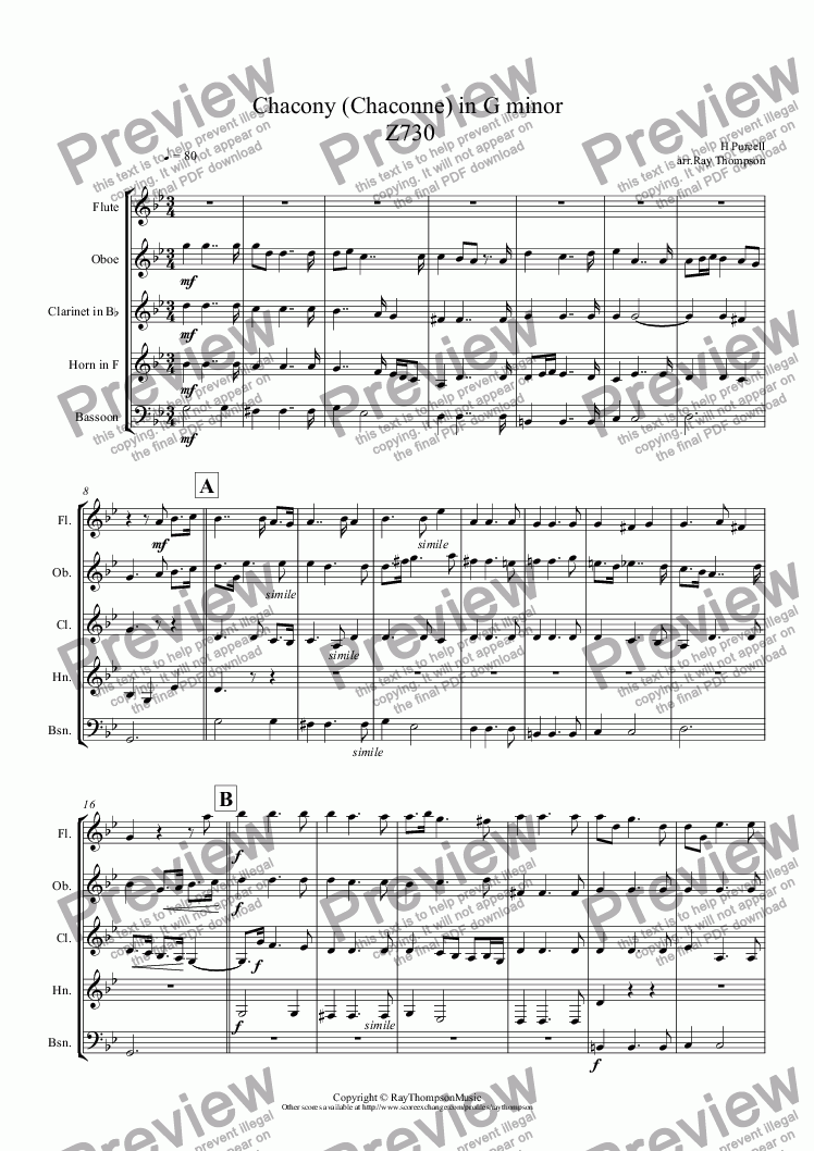 page one of Purcell: Chacony (Chaconne) in G minor  Z730 arr. wind quintet