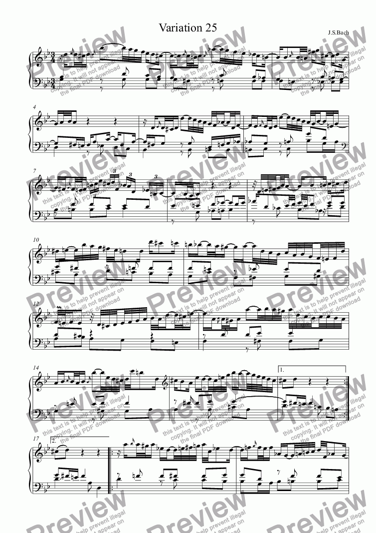page one of J.S.Bach - Goldberg Variations 25