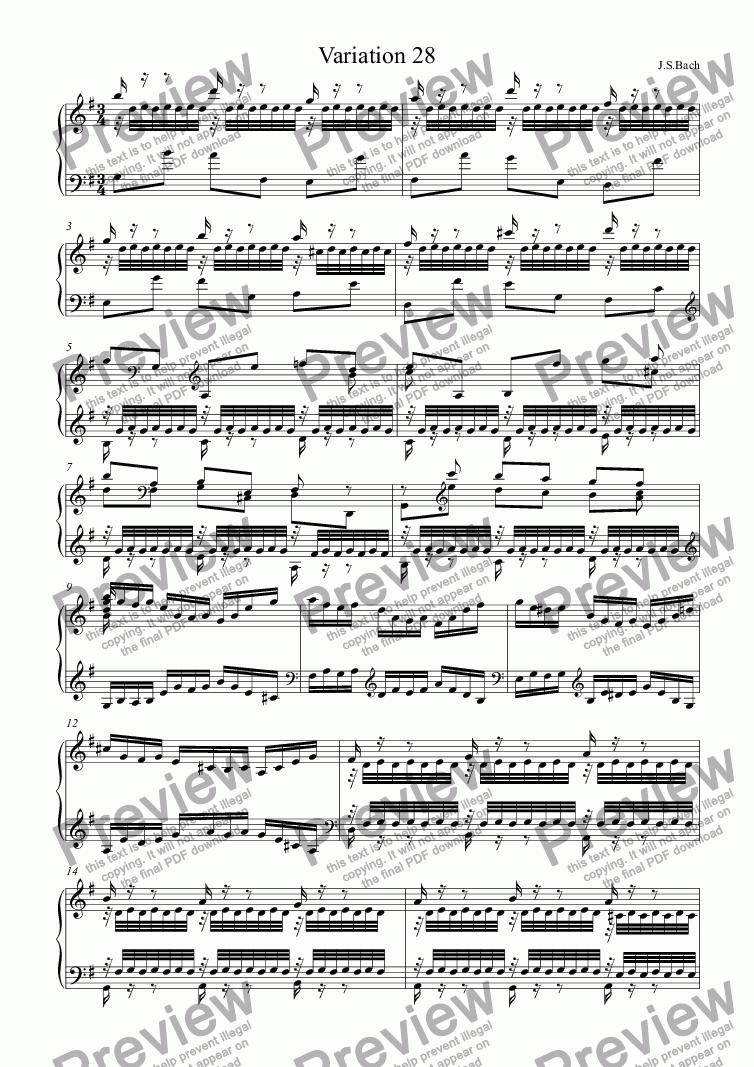 page one of J.S.Bach -  Goldberg Variations 28ASALTTEXT