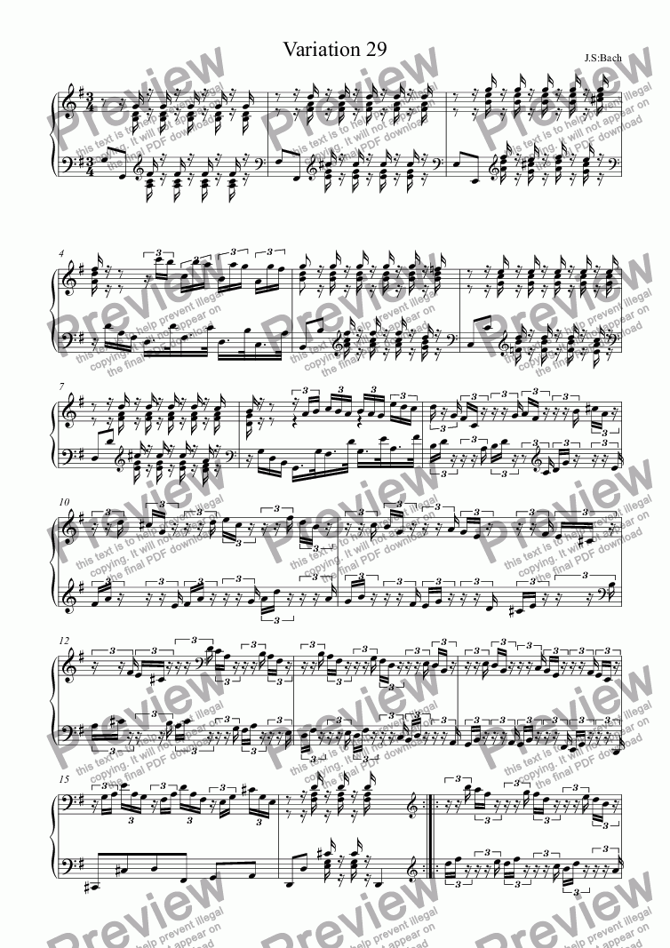 page one of J.S.Bach - Goldberg Variations 29
