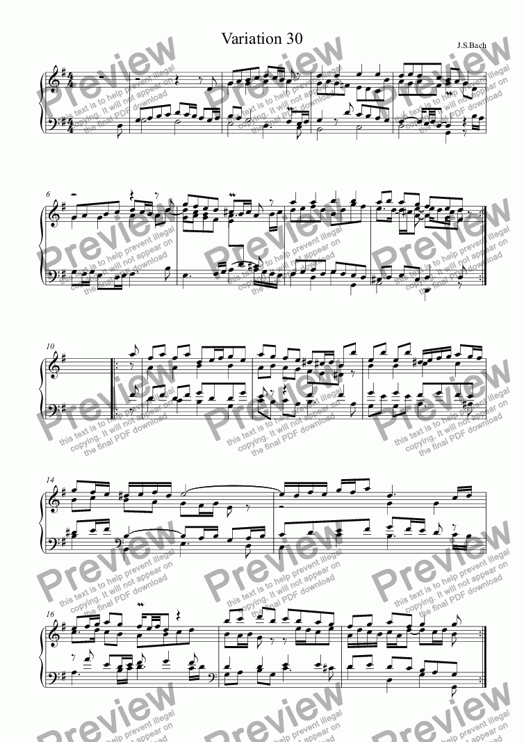 page one of J.S.Bach - Goldberg Variations 30
