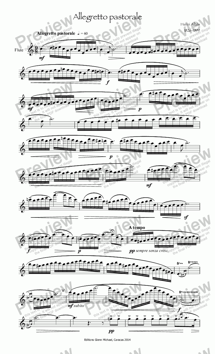 page one of Altés Allegretto pastorale