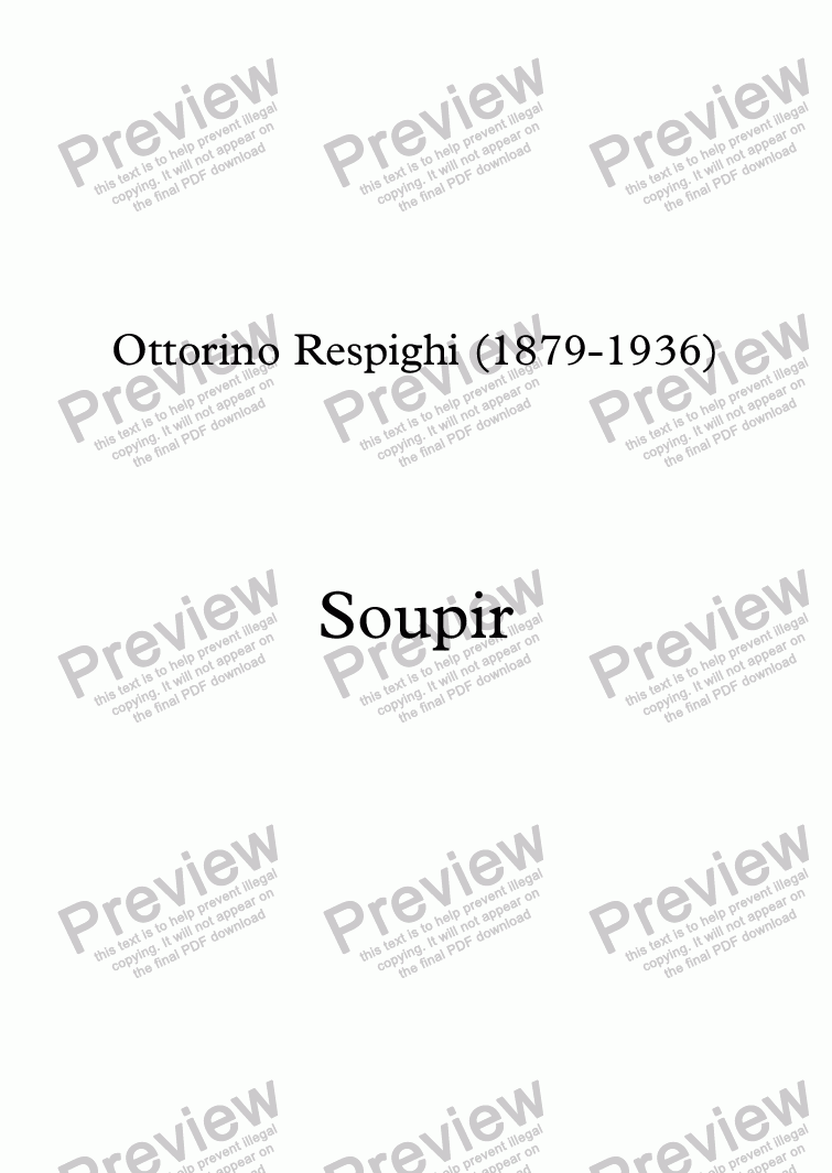 page one of Soupir (Respighi - Sully Prudhomme)
