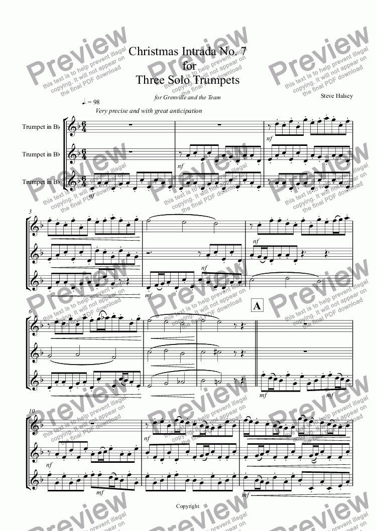 page one of Christmas Intrada No. 7  for   Three Solo Trumpets
