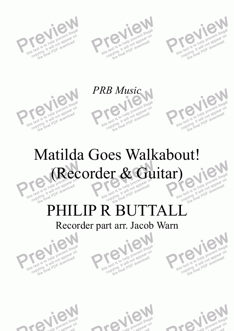 page one of Matilda Goes Walkabout! (Recorder & Guitar)