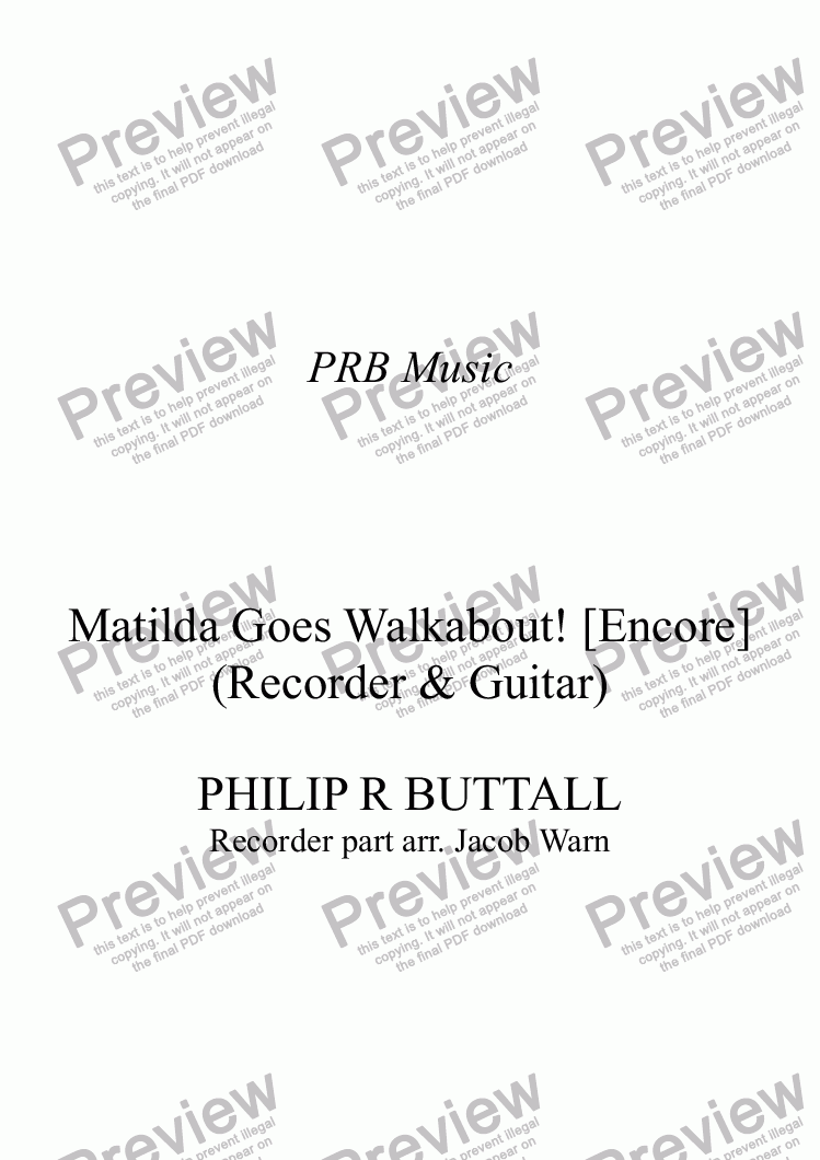 page one of Matilda Goes Walkabout! (Recorder & Guitar) [Encore]