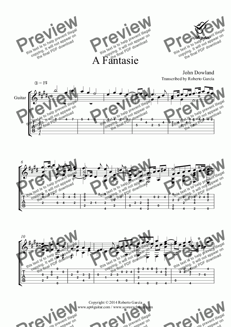 page one of A Fantasie for solo guitar
