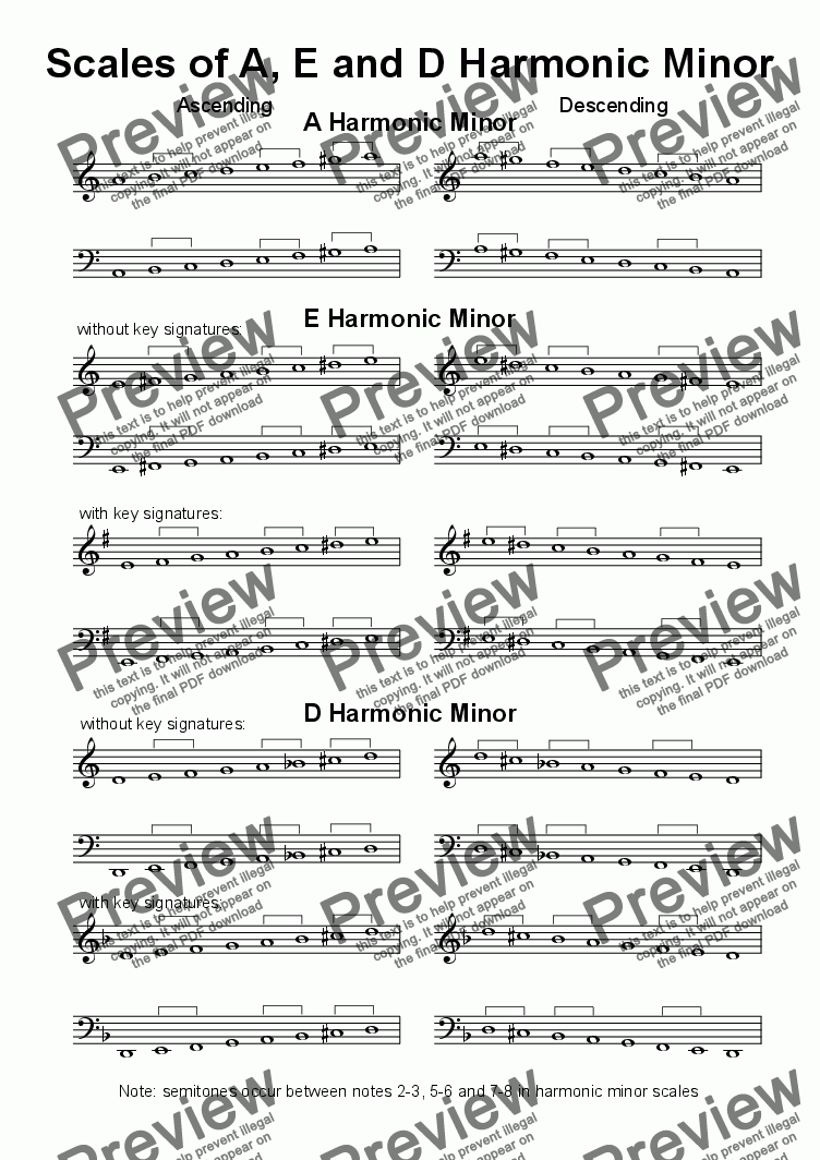 page one of Helpsheet: Scales of A, E & D Harmonic MinorASALTTEXT