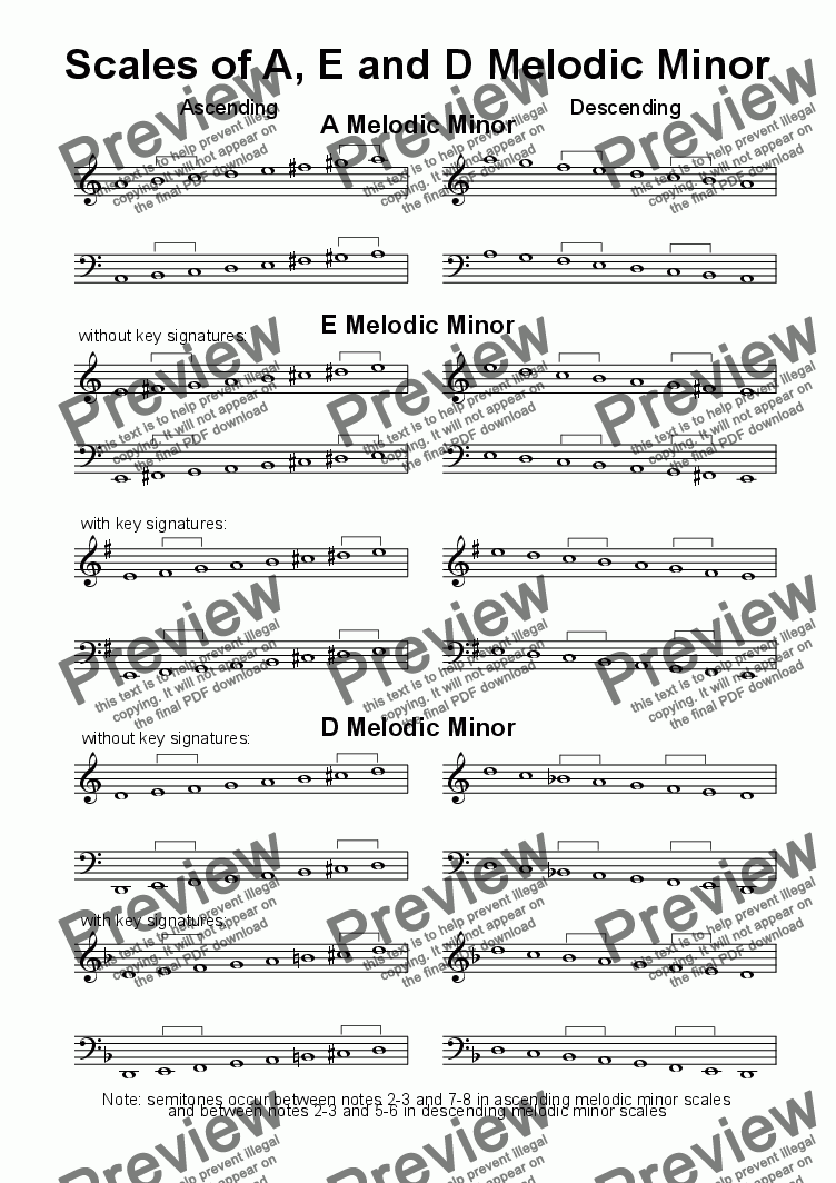 page one of Helpsheet: Scales of A, E & D Melodic Minor