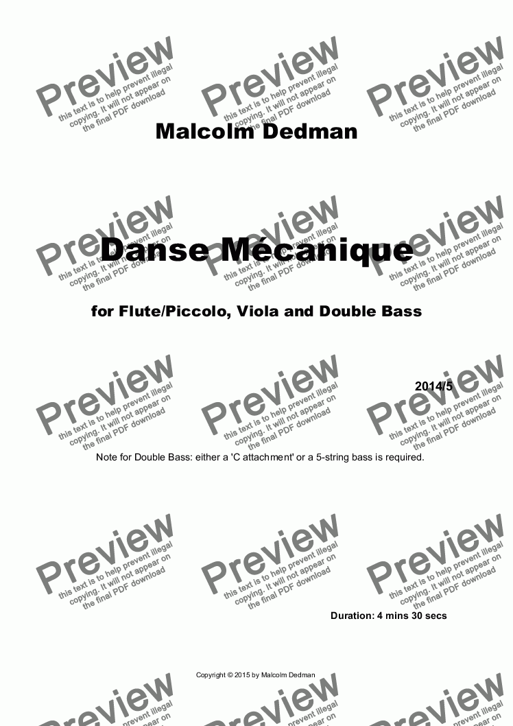 page one of Danse Mécanique