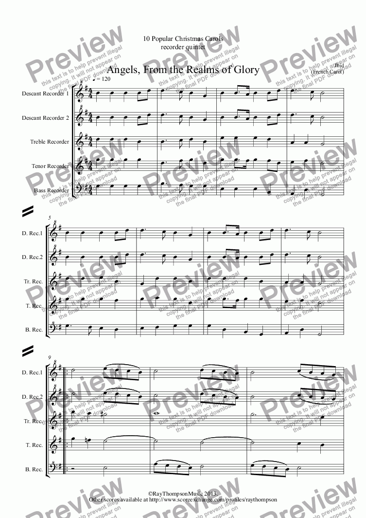 page one of 10 Popular Christmas Carols for recorder quintet