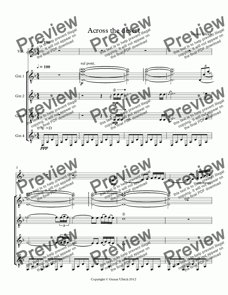 page one of Across the desert-Guitar Quartet and Violin