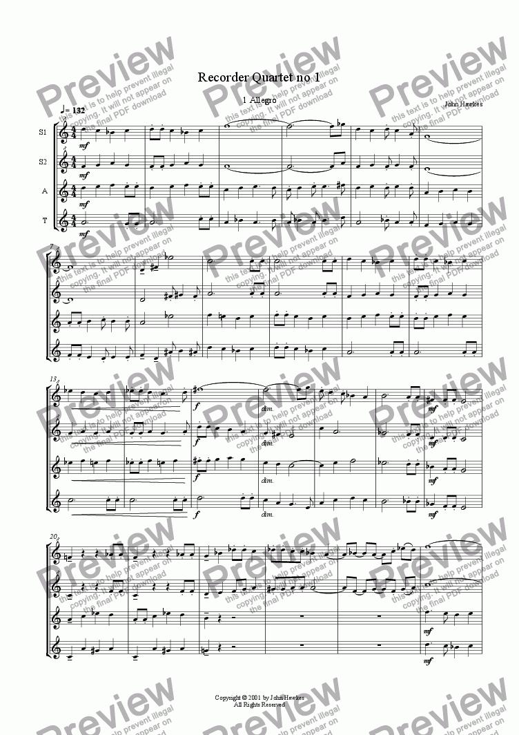 page one of Recorder Quartet no 1