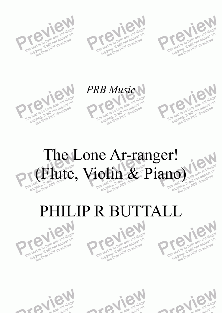 page one of The Lone Ar-ranger! (Flute, Violin & Piano)ASALTTEXT