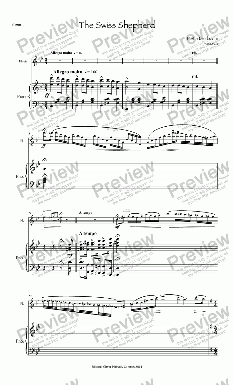 page one of Morlacchi The Swiss Shepherd for flute & piano